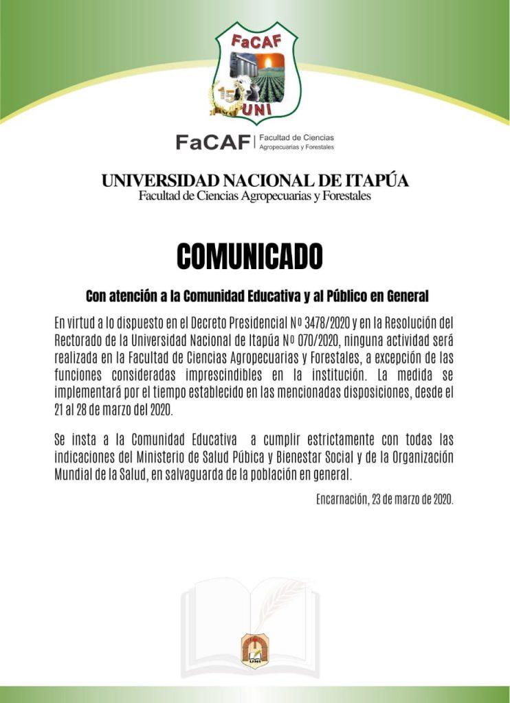 Comunicado FaCAF