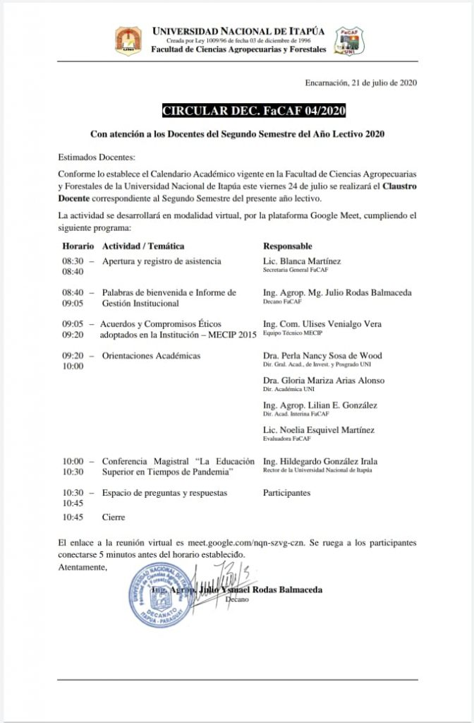 CIRCULAR 2° CLAUSTRO DOCENTE 2020